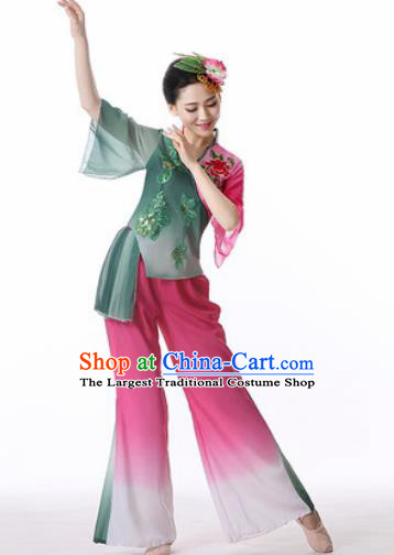 Traditional Chinese Folk Dance Veil Clothing Yangko Dance Costume for Women