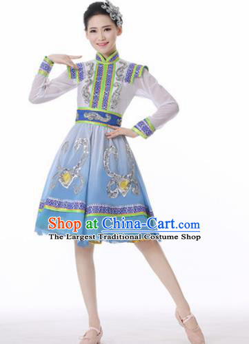 Traditional Chinese Mongol Nationality Folk Dance Blue Short Dress Mongolian National Ethnic Costume for Women