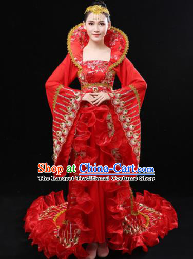 Chinese Traditional Classical Dance Ancient Imperial Consort Red Dress Umbrella Dance Stage Performance Costume for Women