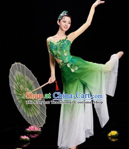 Chinese Traditional Umbrella Dance Green Dress Classical Dance Stage Performance Costume for Women