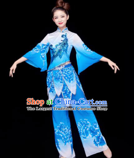 Traditional Chinese Spring Festival Folk Dance Blue Clothing Yangko Dance Fan Dance Costume for Women