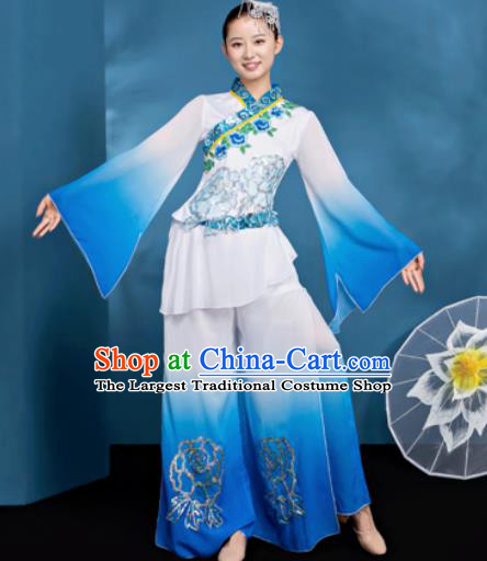 Traditional Chinese Folk Dance Umbrella Dance Blue Clothing Yangko Dance Costume for Women