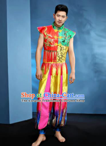 Traditional Chinese Folk Dance Drum Dance Clothing Yangko Dance Costume for Men