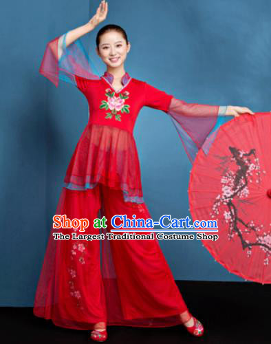 Traditional Chinese Folk Dance Fan Dance Red Veil Clothing Yangko Dance Costume for Women