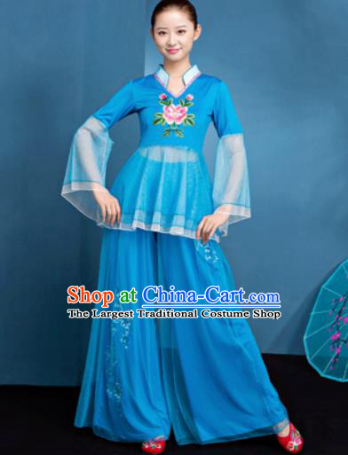 Traditional Chinese Folk Dance Fan Dance Blue Veil Clothing Yangko Dance Costume for Women