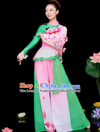 Traditional Chinese Folk Dance Stage Show Green Clothing Yangko Dance Costume for Women