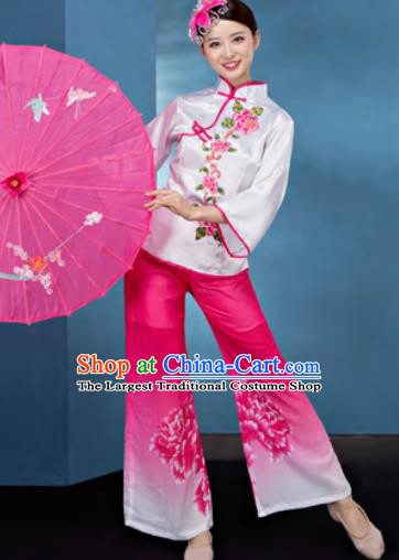 Traditional Chinese Folk Dance Stage Show Clothing Yangko Dance Printing Peony Pink Costume for Women