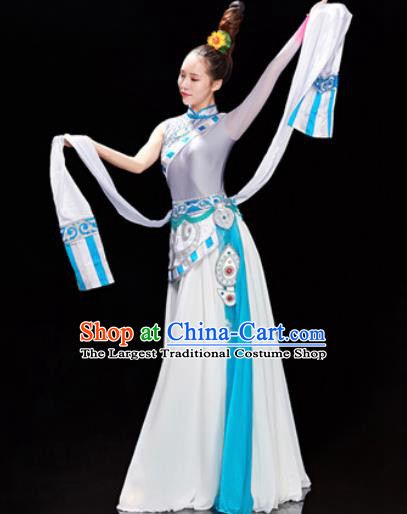 Traditional Chinese Zang Nationality Folk Dance Dress Tibetan National Ethnic Costume for Women