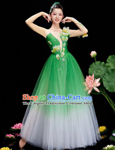 Chinese Traditional Opening Dance Chorus Deep Green Veil Dress Modern Dance Stage Performance Costume for Women