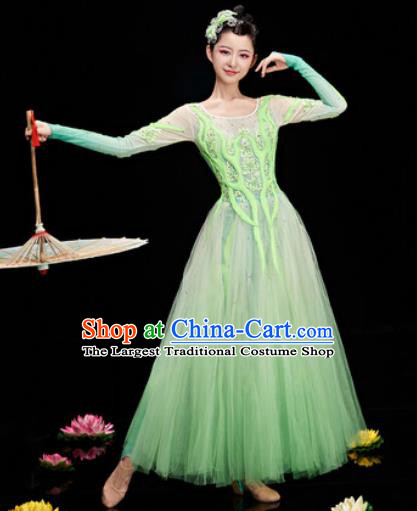 Chinese Traditional Opening Dance Chorus Green Veil Dress Modern Dance Stage Performance Costume for Women