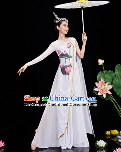 Chinese Traditional Umbrella Dance Printing Lotus Dress Classical Dance Stage Performance Costume for Women