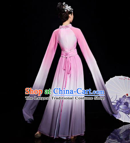 Chinese Traditional Umbrella Dance Water Sleeve Pink Dress Classical Dance Stage Performance Costume for Women
