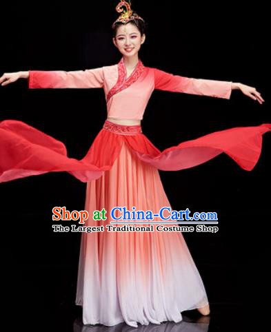 Chinese Traditional Umbrella Dance Red Dress Classical Dance Stage Performance Costume for Women