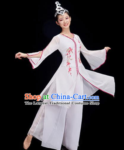 Chinese Traditional Umbrella Dance White Dress Classical Dance Stage Performance Costume for Women