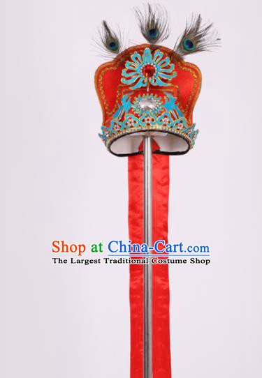 Chinese Traditional Peking Opera Niche Red Hat Classical Beijing Opera Scholar Headwear for Men