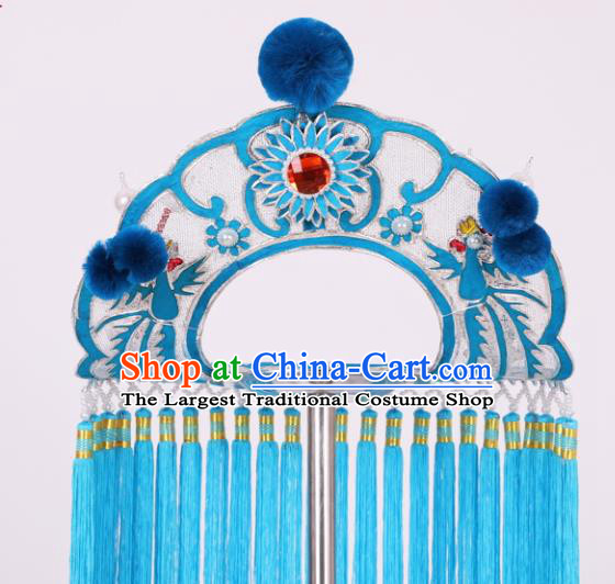 Chinese Traditional Peking Opera Fisher Maiden Blue Tassel Hat Classical Beijing Opera Headwear for Women
