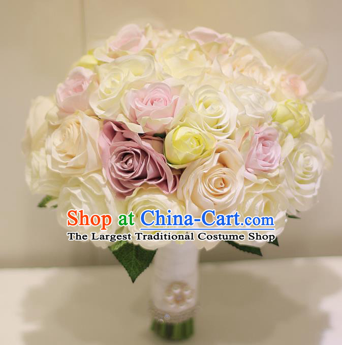 Top Grade Wedding Bridal Bouquet Hand White and Pink Roses Tied Bouquet Flowers for Women