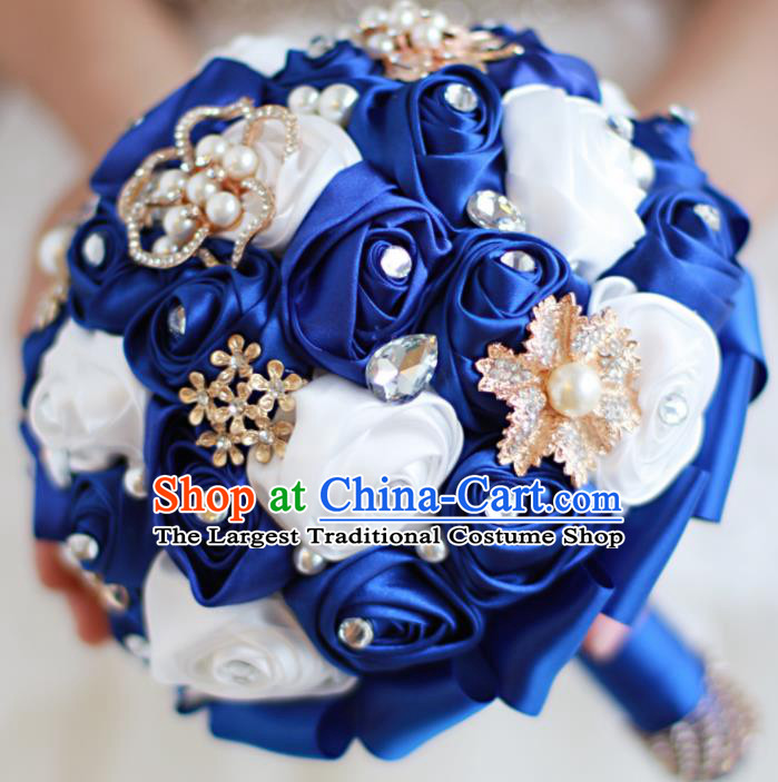 Top Grade Wedding Bridal Bouquet Hand Emulational Royal Blue Roses Tied Bouquet Flowers for Women
