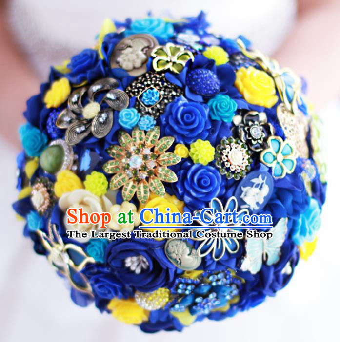 Top Grade Wedding Bridal Bouquet Hand Emulational Roses Tied Bouquet Flowers for Women
