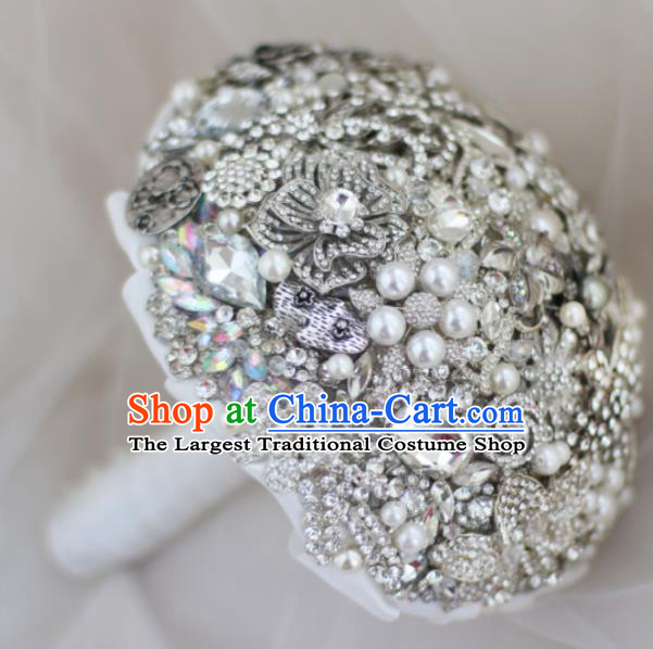Top Grade Wedding Bridal Bouquet Hand Emulational Crystal Tied Bouquet Flowers for Women