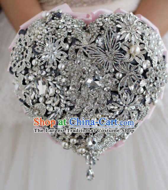 Top Grade Wedding Bridal Bouquet Hand Emulational Crystal Heart Shape Tied Bouquet Flowers for Women