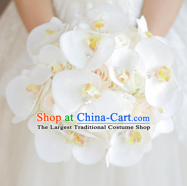 Top Grade Wedding Bridal Bouquet Hand White Phalaenopsis Ball Tied Bouquet Flowers for Women