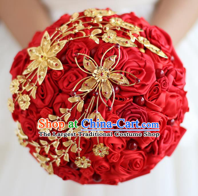Top Grade Wedding Bridal Bouquet Hand Emulational Red Roses Ball Tied Bouquet Flowers for Women