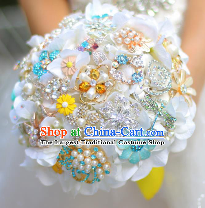 Top Grade Wedding Bridal Bouquet Hand Emulational White Flowers Ball Tied Bouquet Flowers for Women
