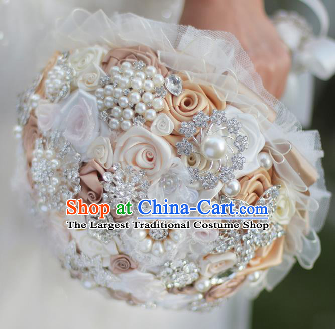Top Grade Wedding Bridal Bouquet Hand Emulational Champagne Roses Ball Tied Bouquet Flowers for Women
