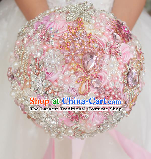 Top Grade Wedding Bridal Bouquet Hand Emulational Crystal Pink Rose Ball Tied Bouquet Flowers for Women