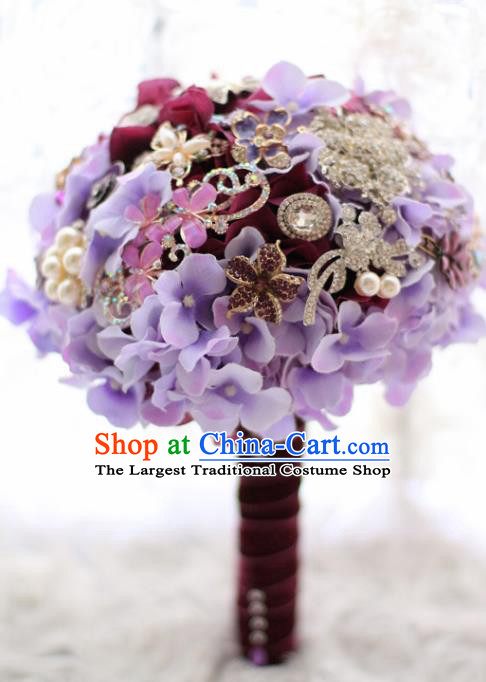 Top Grade Wedding Bridal Bouquet Hand Emulational Purple Flowers Crystal Ball Tied Bouquet Flowers for Women