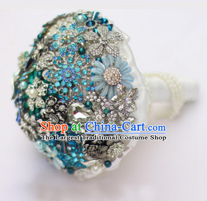 Top Grade Wedding Bridal Bouquet Hand Blue Crystal Flowers Ball Tied Bouquet Flowers for Women