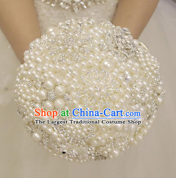 Top Grade Wedding Bridal Bouquet Hand Blue Crystal Pearls Flowers Ball Tied Bouquet Flowers for Women