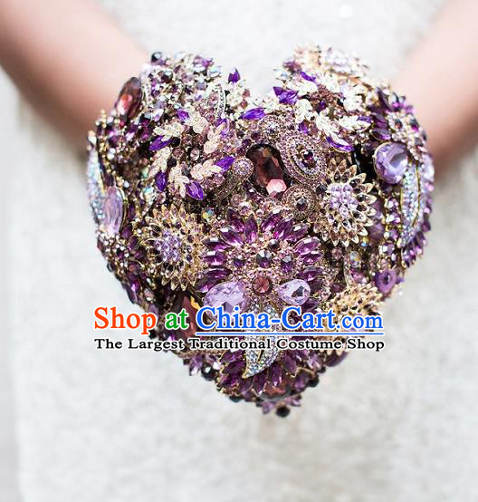 Top Grade Wedding Bridal Bouquet Hand Purple Crystal Flowers Ball Tied Bouquet Flowers for Women