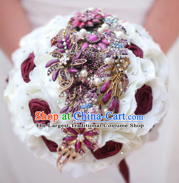 Top Grade Wedding Bridal Bouquet Hand Purple Crystal Roses Ball Tied Bouquet Flowers for Women
