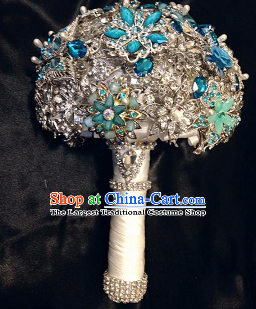 Top Grade Wedding Bridal Bouquet Hand Blue Crystal Ball Tied Bouquet Flowers for Women