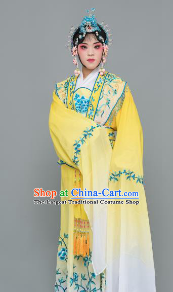 Chinese Traditional Peking Opera Princess Yellow Dress Classical Beijing Opera Actress Costume for Adults