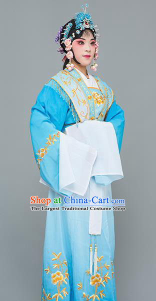 Chinese Traditional Peking Opera Princess Blue Dress Classical Beijing Opera Actress Costume for Adults