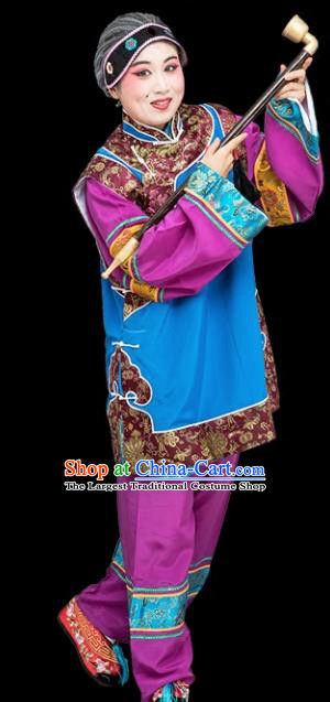 Chinese Traditional Peking Opera Old Women Blue Clothing Classical Beijing Opera Matchmaker Costume for Adults