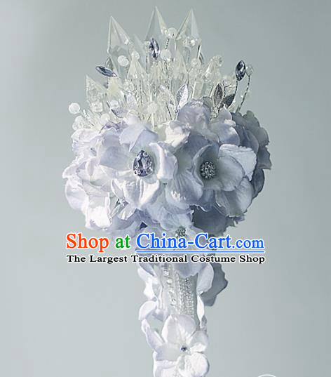 Chinese Traditional Wedding Bridal Bouquet Hand Purple Flowers Crystal Bunch for Women