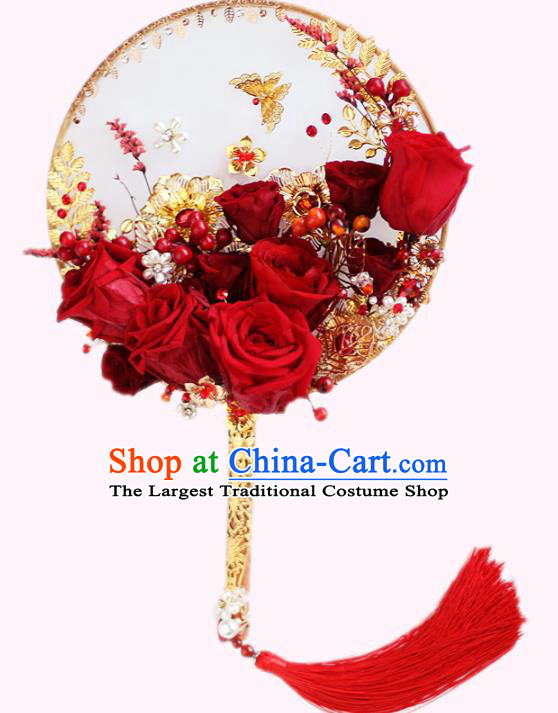 Chinese Traditional Wedding Round Fans Classical Bride Red Roses Palace Fan for Women