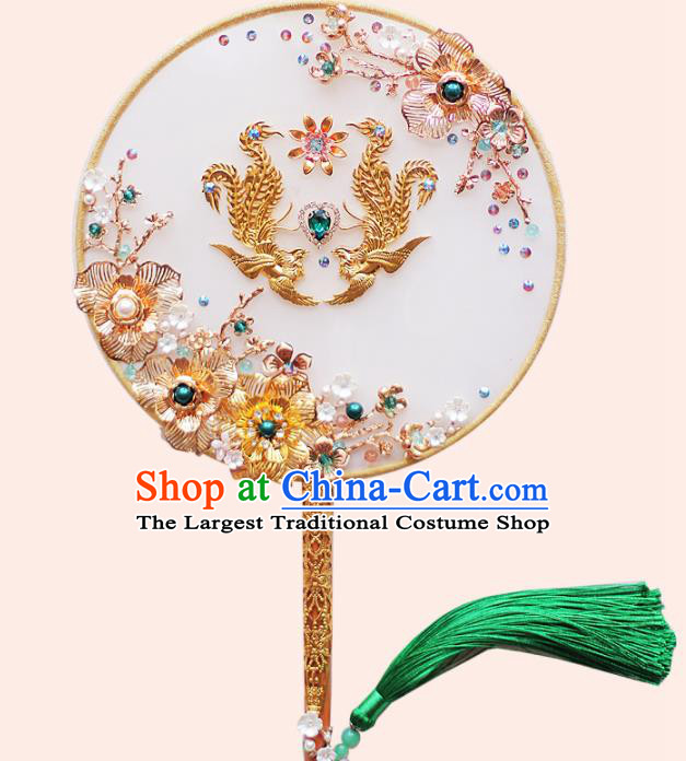 Chinese Traditional Wedding Round Fans Classical Bride Golden Phoenix Palace Fan for Women