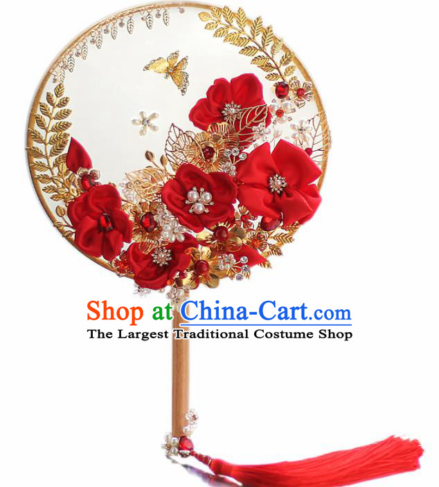 Chinese Traditional Wedding Round Fans Classical Bride Red Silk Flowers Palace Fan for Women