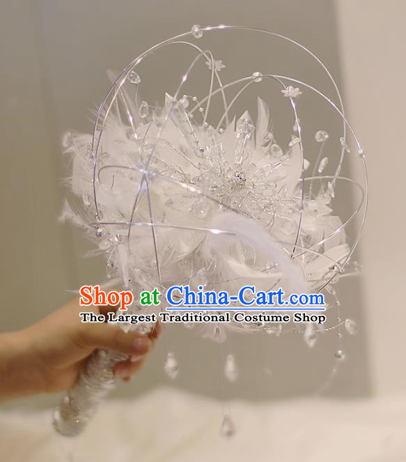 Chinese Traditional Wedding Bridal Bouquet Hand Crystal Feather Bunch Scepter for Women