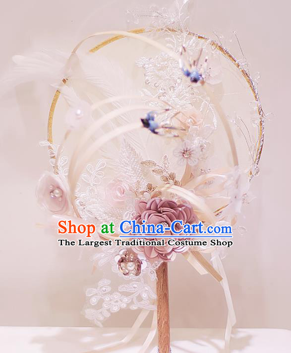 Chinese Traditional Wedding Round Fans Classical Bride Lace Flowers Palace Fan for Women