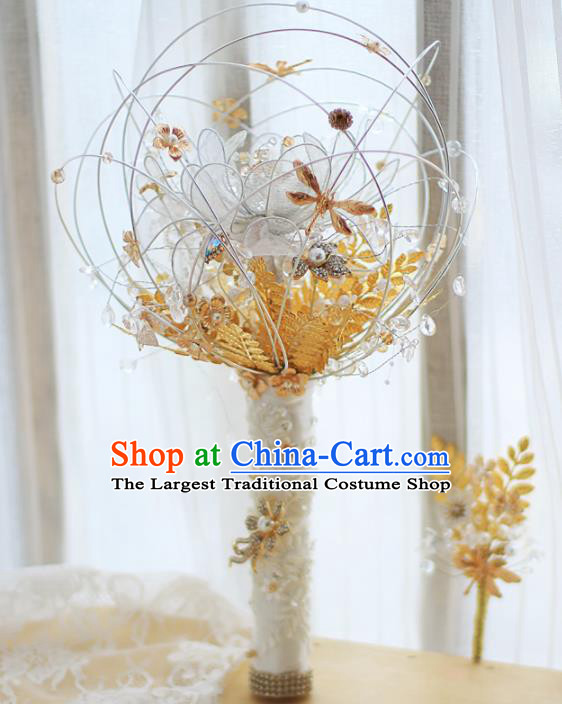 Chinese Traditional Wedding Bridal Bouquet Hand White Flowers Bunch for Women