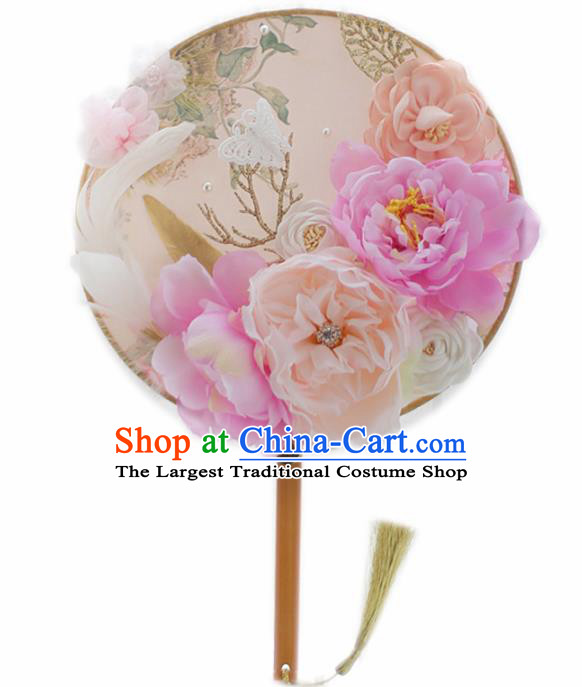 Chinese Traditional Wedding Round Fans Classical Bride Pink Peony Palace Fan for Women