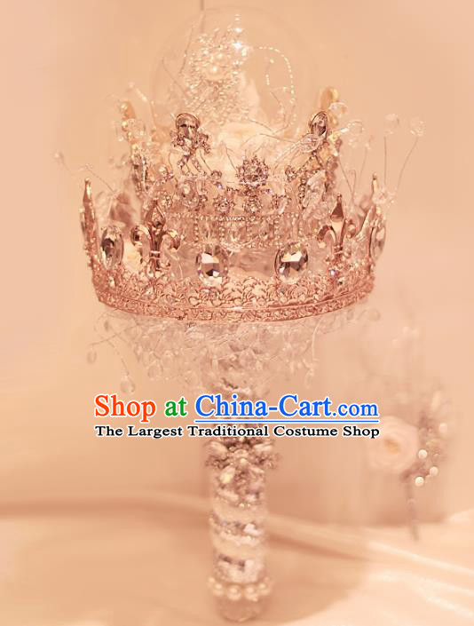 Top Grade Wedding Bridal Bouquet Hand Crystal Royal Crown Bunch for Women