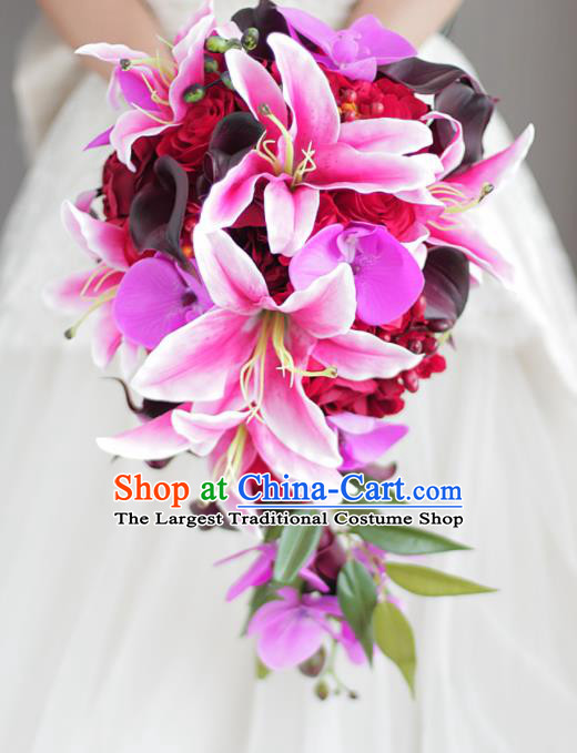 Top Grade Wedding Bridal Bouquet Hand Red Roses Lily Flowers Bunch for Women