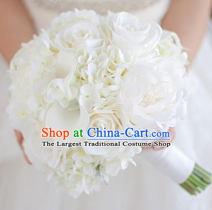 Top Grade Wedding Bridal Bouquet Hand White Rose Flowers Bunch for Women